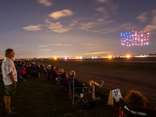 Lighted drone show sparkles and wows crowd at EAA AirVenture